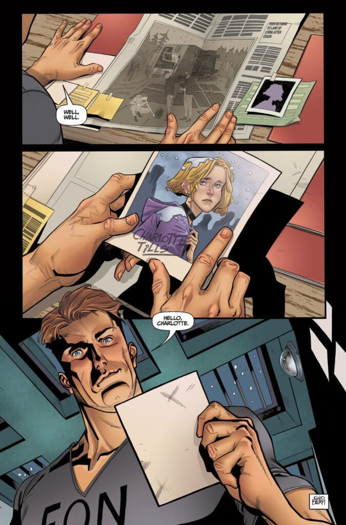A page from the upcoming ExtraOrdinary #0, where a man looks at a picture of a blond woman named Charlotte Tills and seems to recognize her.