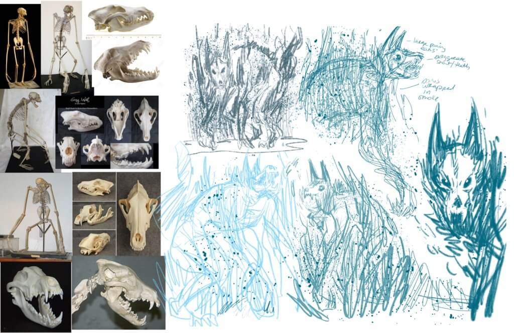 Sketches of wolf-like monsters beside wolf skulls