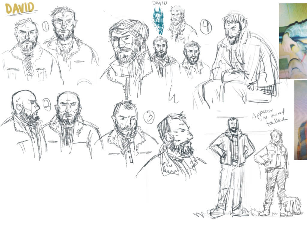 Sketches of a bearded man