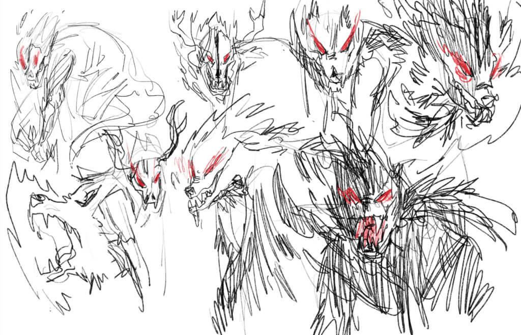 Sketches of wolf-like monsters