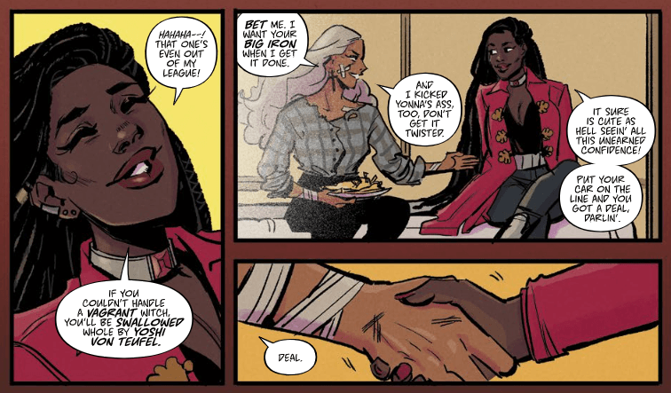 Three panels from Witchblood #3 showing Atlacoya in conversation with another witch. They make a bet that Atlacoya can take down a strong witch, with the winner getting the other witch's car.