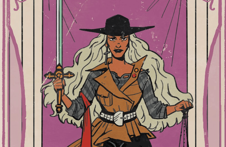 A variant cover for Witchblood #3 showing Atlacoya, a long-haired woman, in the traditional pose of the Justice tarot card.