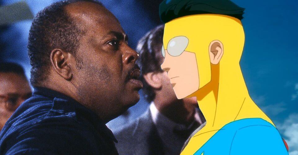 Reginald VelJohnson in Die Hard, juxtaposed beside the main character from the Invincible tv series