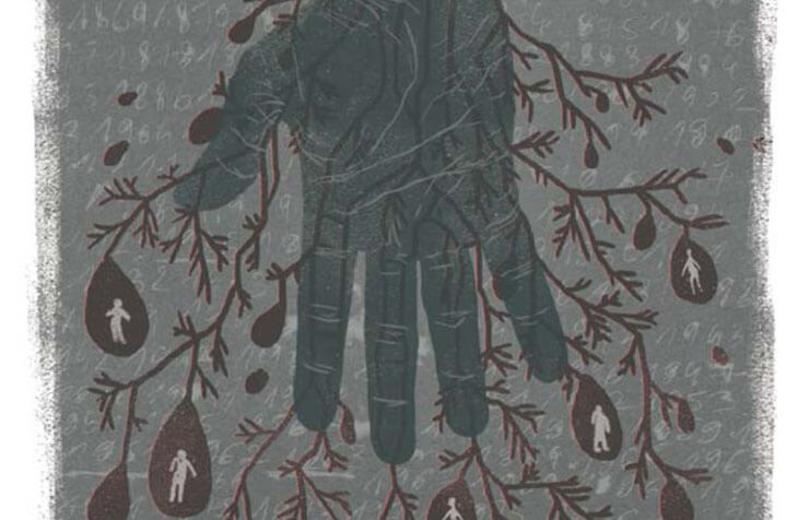 A hand with roots that look like blood or water drops with silhouettes of humans