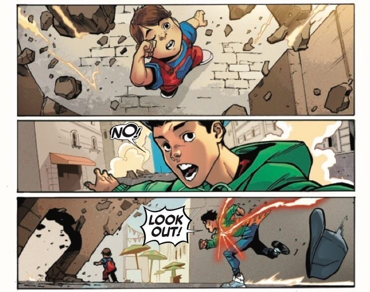 Panels from Reptil #1 by writer Terry Blas, penciler Enid Balám, inker Victor Olazaba, colorist Carlos Lopez, and letterer Joe Sabino depicting Humberto Lopez running to save a child