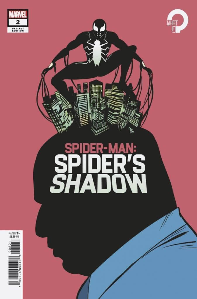 Peter Parker in his black Symbiote suit crouches over Manhattan - which is perched atop Kingpin's head. He is portrayed in shadow, with a blue shirt, red background and red tie.