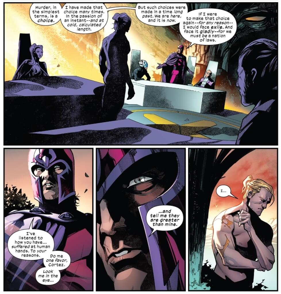Magneto dresses down a naked Cortez.
