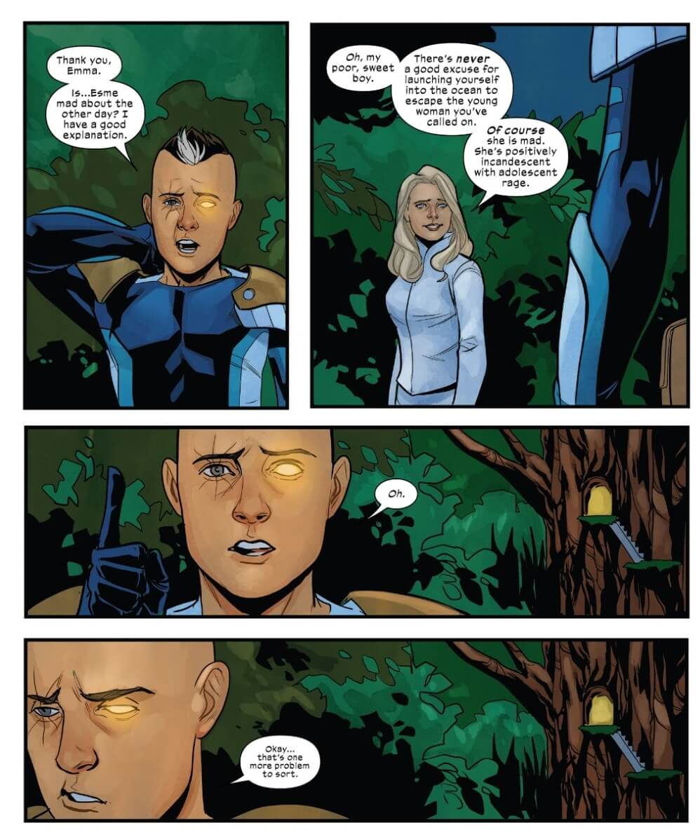 Cable and Emma share an embarrassing moment