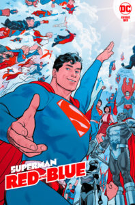 The Superman family (ALL OF THEM) flying towards the sky, while Superamn invites you to fly with them