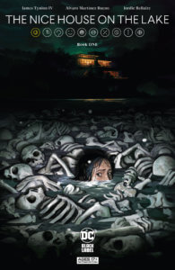 A head sticking out of a bone pile, with a house lit on the horizon