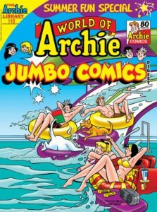 Jughead Jones, Archie Andrews and their dogs, Vegas and Hotdog, ride down a waterslide while Veronica Lodge and Betty Cooper watch in amazement in pool floats nearby.