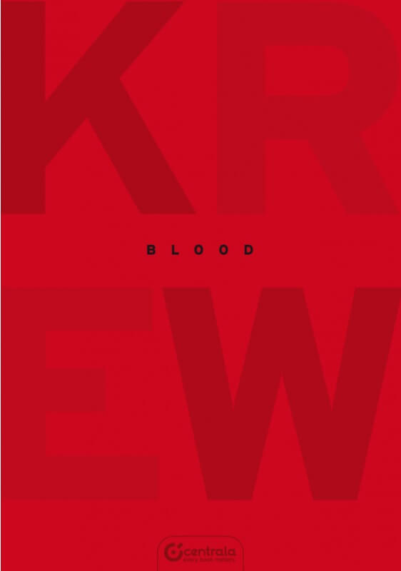 The cover of KREW or Blood red on red with Blood in black
