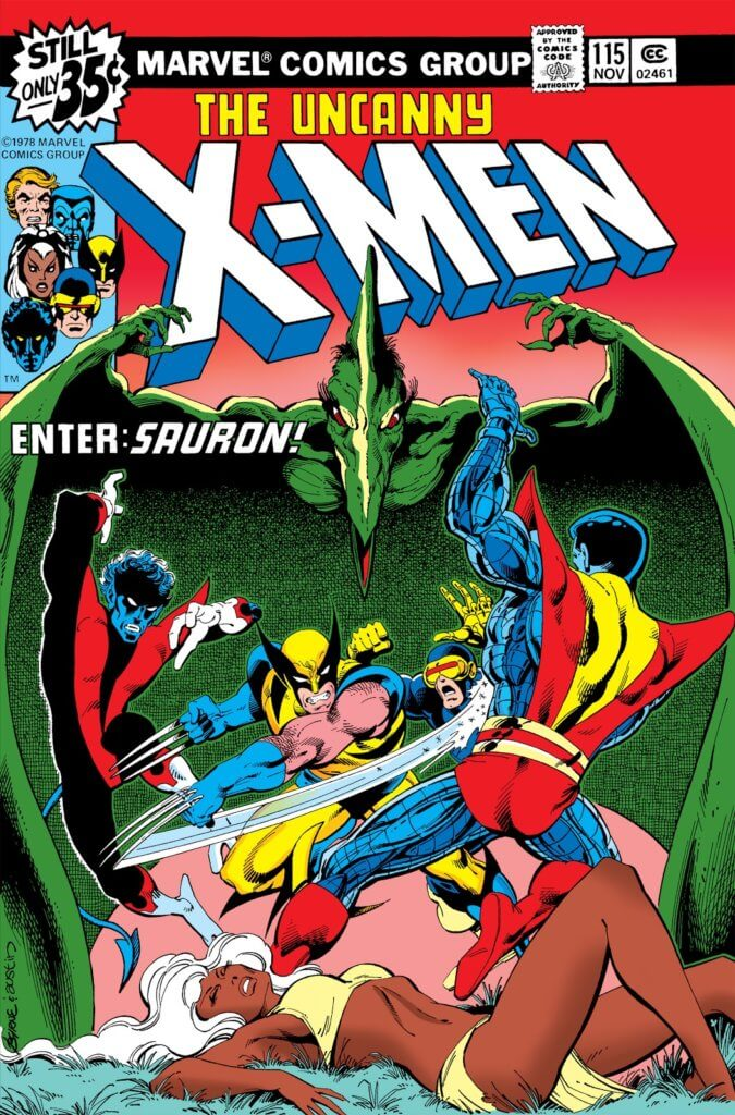 A pterodactyl engulfs Wolverine, Colossus, and Nightcrawler in its huge wings