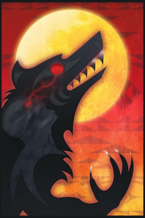 Splash page art from A Howl. A werewolf is silhouetted in black against a fiery orange sky and yellow moon. Its one visible eye glows red. Art by Ovila Mailhot, from A Howl, Native Realities Press, 2021.