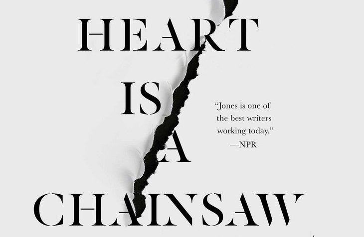 The words 'My Heart is a Chainsaw are written on a grey backdrop, with an axe mark dividing the page straight down the middle