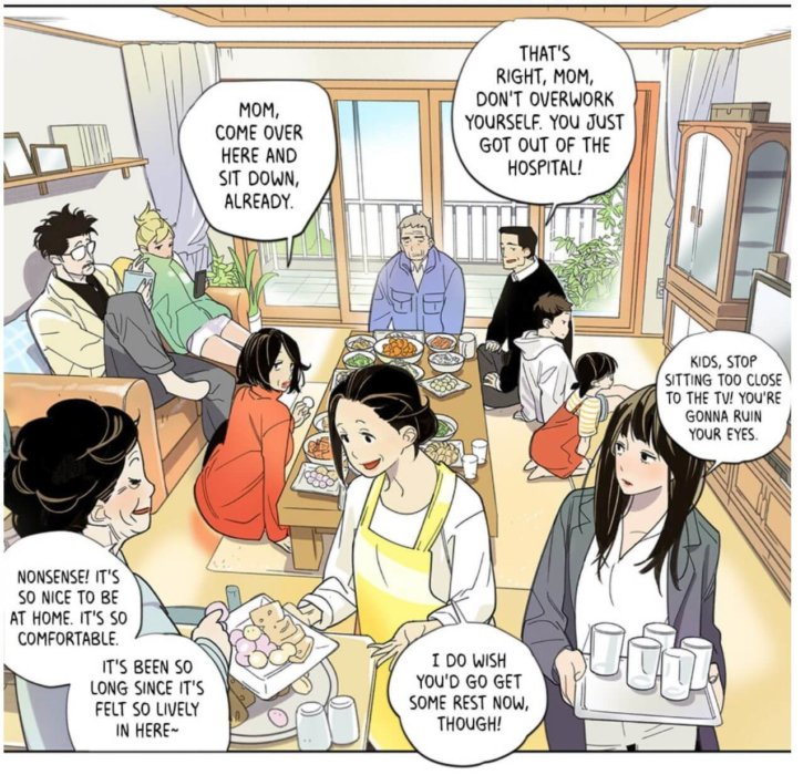 panel from the webtoon showing dukchul's family in their home, expressing care and concern for each other.