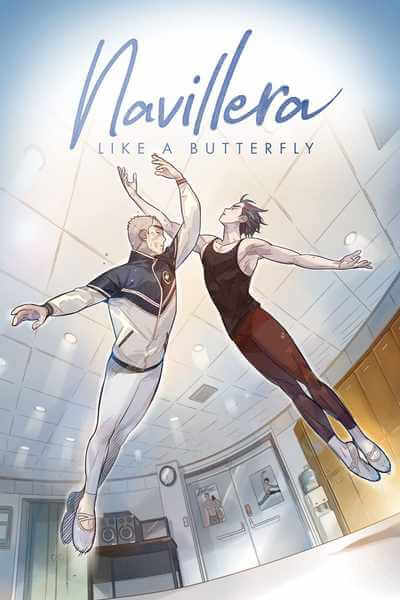 cover of Navillera: like a butterfly as it appears on Tapas, showing dukchul and chaerok leaping into the air
