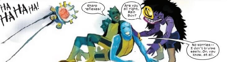 Rainboy and Cosmos and the New Mutants playfighting