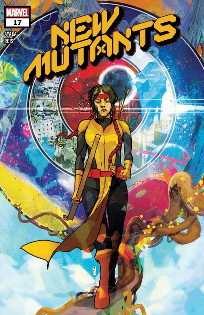Christian Ward's cover for New Mutants #17 - Dani Moonstar walking in front of concentric circles expanding outward, each sliver a different environment.