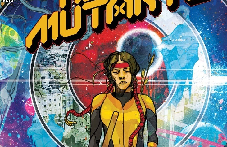 Crop of Christian Ward's cover for New Mutants #17 - Dani Moonstar walking in front of concentric circles expanding outward, each sliver a different environment.