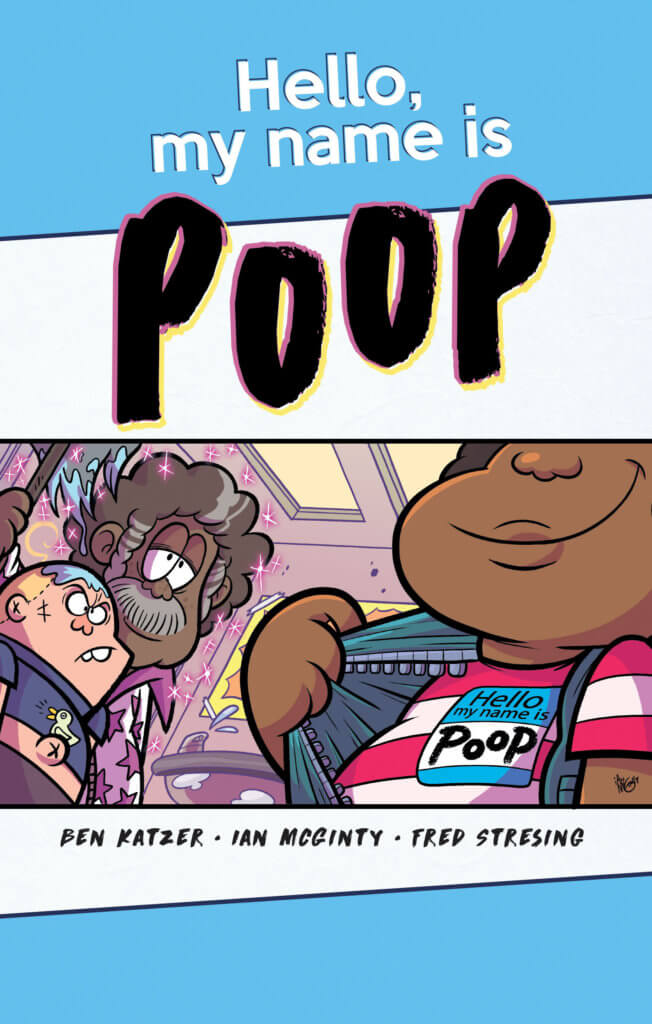"""A child opens their shirt to show off a name tag that reads """"Poop"""""""