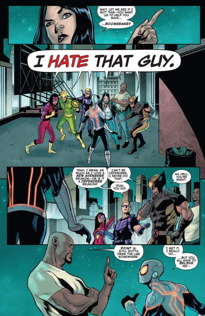Peter's friends declaim Boomerang in a preview image for Giant-Size Spider-Man #1 - King's Ransom