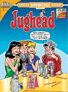 """Redheaded white teenager Archie Andrews wears a blue shirt with a black sweater. On his right is white blonde teenager betty cooper, to the left brunette white teenager Veronica Lodge. Veronica wears a green dress and jewelry, Betty a short-sleeved purple teeshirt. They three of them are sharing an ice cream soda at Pop's Chok'lit shop, and sitting across from them is white brunet teen Jughead Jones, wearing a fool's cap and a red football jersey with a 0 on it. """"Hey Arch,"""" he says, """"I can't decide which one I Love the most, either!"""" he says, while downing three milkshakes at the same time with a divided straw."""
