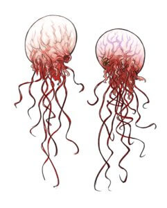 A balloon-like monster with long stringy tentacles