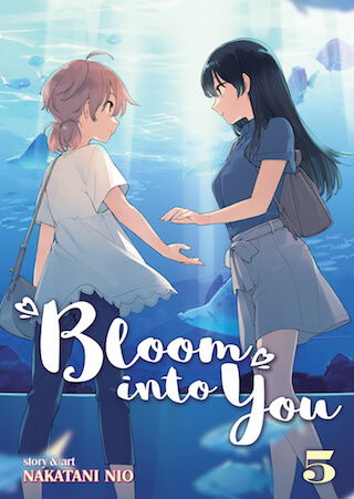 Bloom into you volume 5 cover depicting the two main characters at an aquarium together