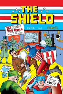 A blue and red and white spangled superhero punches out Adolf Hitler in a very 1940s-style scene