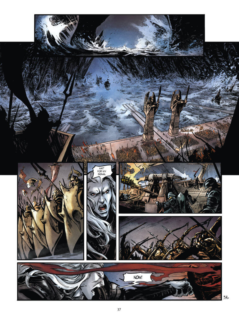A page from the upcoming Elric the Dreaming City #1, featuring a man confronting a very large army on the water.
