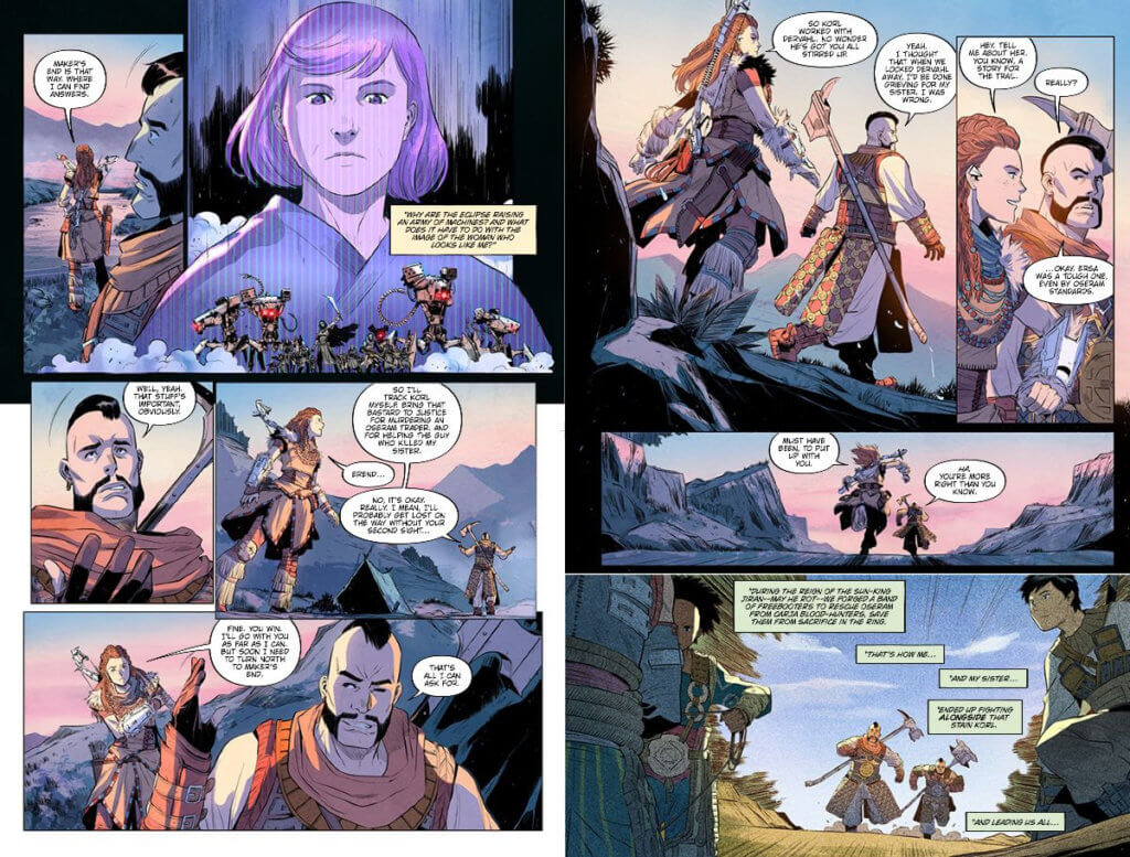 A page from the upcoming Horizon Zero Dawn Liberation #1, where a White man and a White woman share a conversation while traveling through the wilderness.
