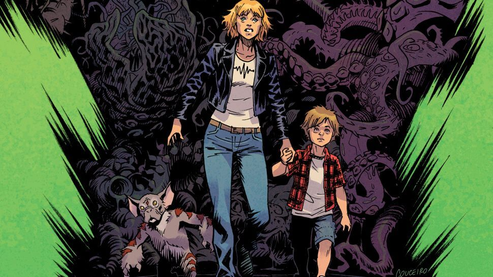 A woman holding the hand of a small child and a accompanied by a small furry creature run away from a giant collection of monsters