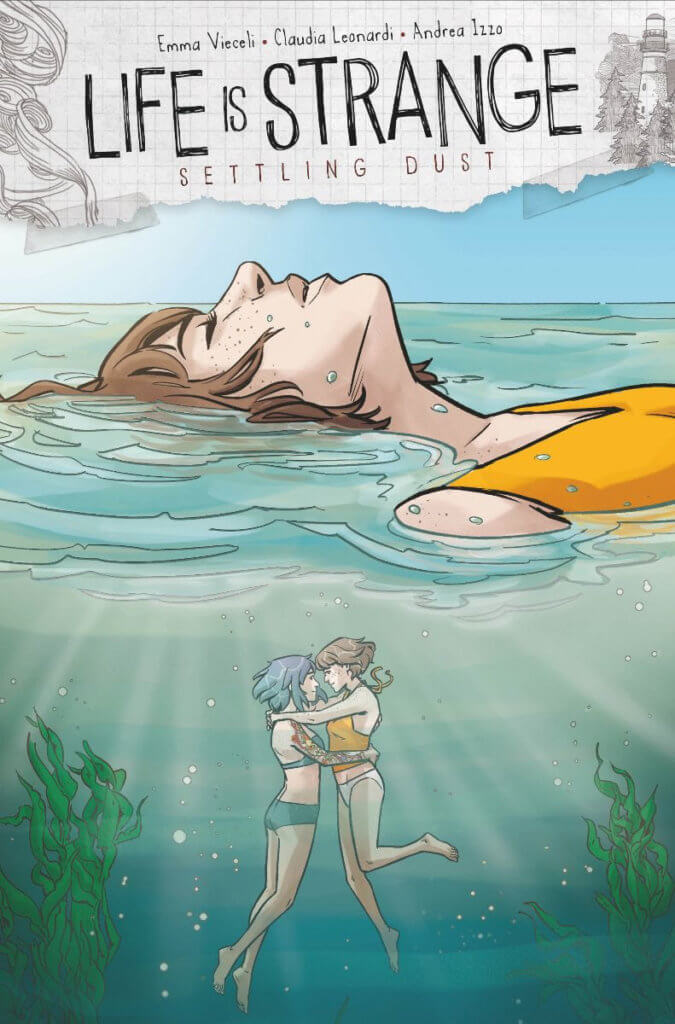Max, a White woman with dark hair, floats in a body of water. Under the water, Max and Chloe, another White Woman with purple hair, embrace.