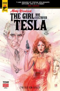 A White red haired woman wearing a red low cut spaghetti strap dress stares at the reader while holding a gun pointed in the air. In the background are silhouettes of a White man and a Black woman.