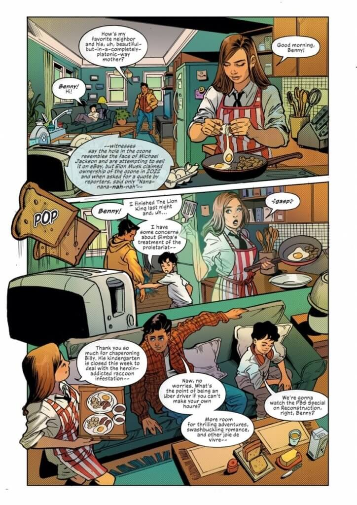Page from Mother of Madness #1 showing Maya going about her normal day - Maya makes breakfast for her son and a male friend