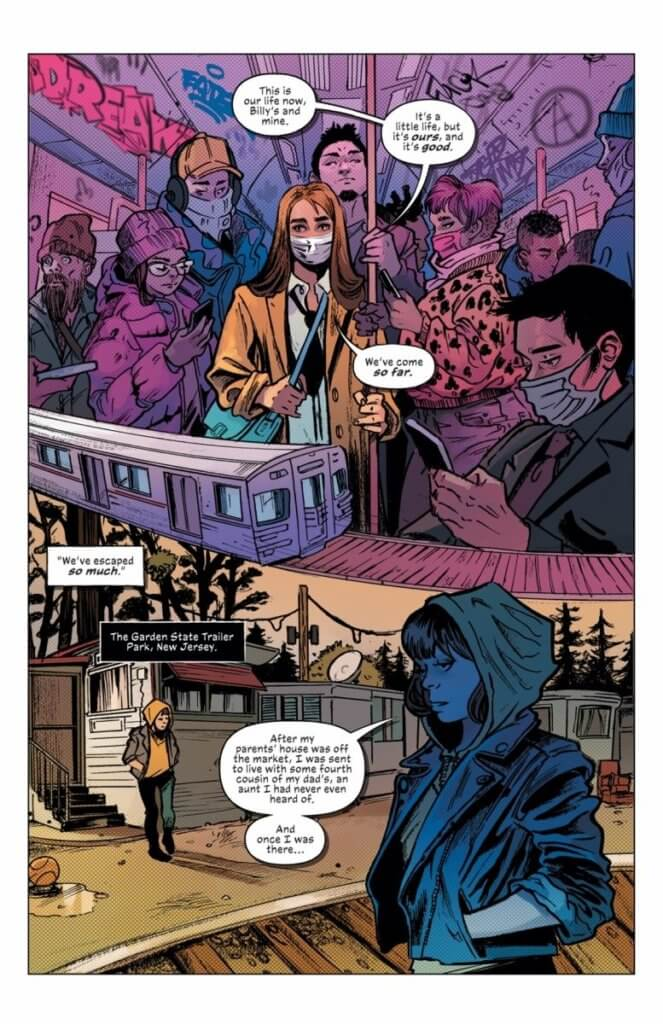 Page from Mother of Madness #1 showing Maya going about her normal day - riding the bus