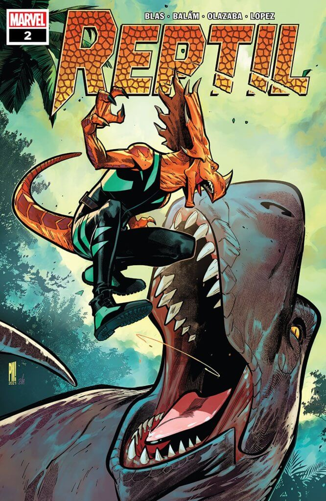 Paco Medina and Federico Blee's cover for Reptil #2 by writer Terry Blas, penciler Enid Balám, inker Victor Olazaba, colorist Carlos Lopez, and letterer Joe Sabino depicting Reptil fighting a dinosaur
