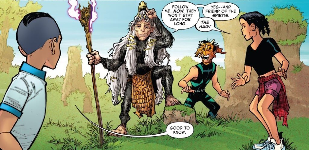 Panel from Reptil #2 by writer Terry Blas, penciler Enid Balám, inker Victor Olazaba, colorist Carlos Lopez, and letterer Joe Sabino depicting Julian, the Hag of the Pits, Reptil, and Eva