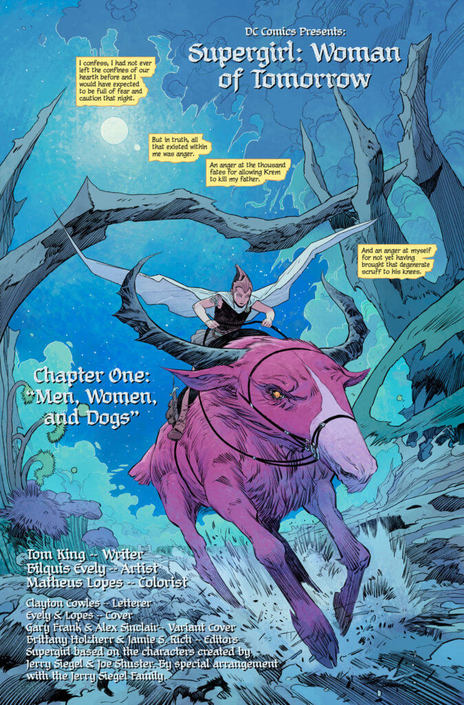 Ruthye riding a pink horned space horse - Supergirl: Woman of Tomorrow #1