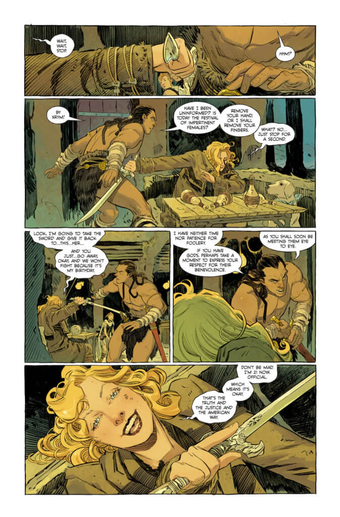 Supergirl drunkenly confronting the bounty hunter - Supergirl: Woman of Tomorrow #1