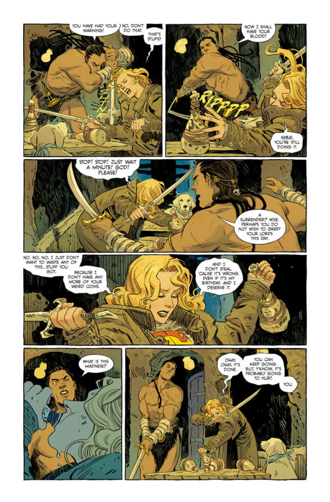 Supergirl starting a bar fight - Supergirl: Woman of Tomorrow #1