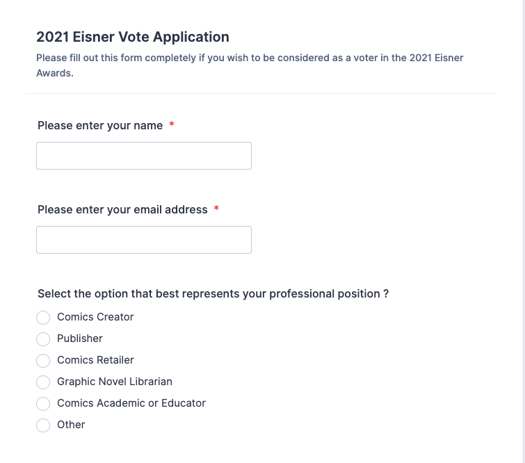The Eisner registration form shows boxes for name and your role in the comics industry