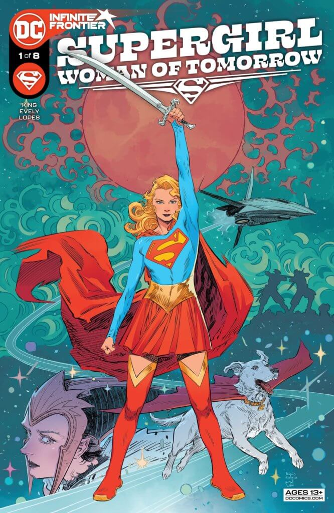 Supergirl holding a sword over her head - Supergirl: Woman of Tomorrow #1