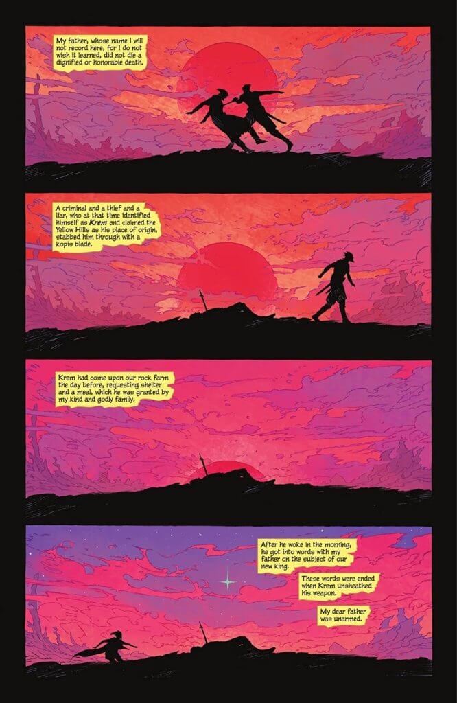 The first page of Supergirl: Woman of Tomorrow #1, by Bilqus Evely and Tom King, a beautiful sunset and silhouetted characters