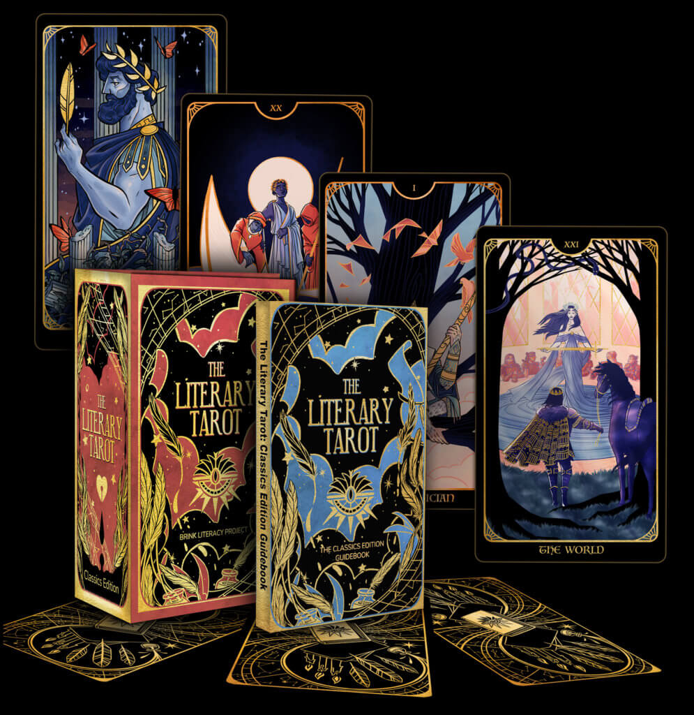 Promo image for the Literary Tarot, showing the box, guidebook and several example cards