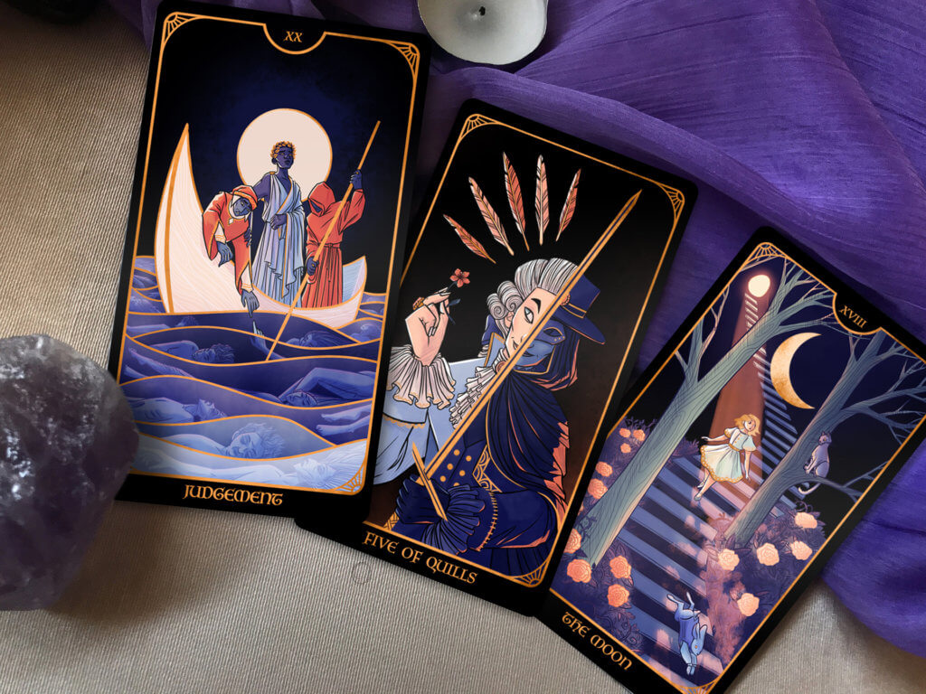 3 cards from the Literary Tarot: Judgement, 5 of Quills, the Moon