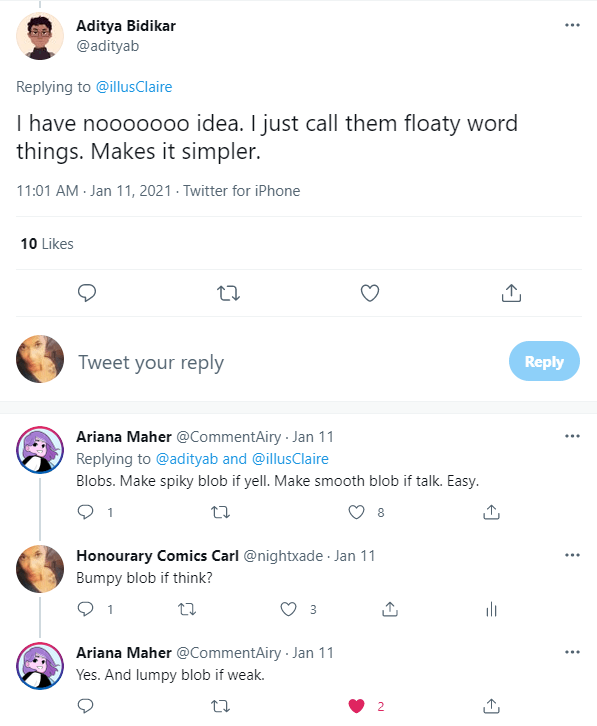 Twitter thread describing comic word thingies