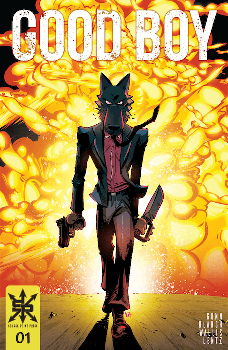 The cover to Good Boy #1. A bipedal dog wearing a suit and carrying a gun in one hand and a knife in the other walks toward the camera away from an explosion, like a cool guy. Good Boy #1, Source Point Press, 2021. Cover art by Kit Wallis.
