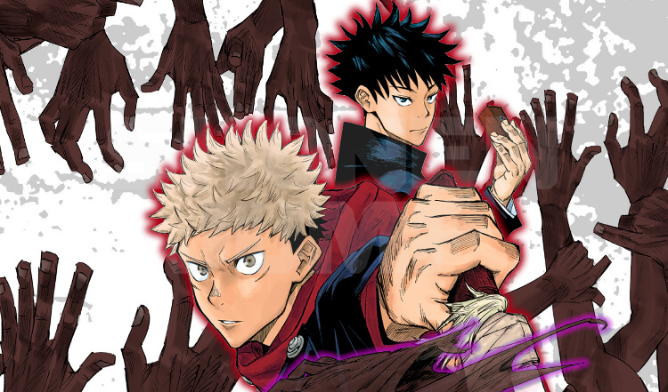 promotional image for jujutsu kaisen depicting two of the main characters ready to fight curses